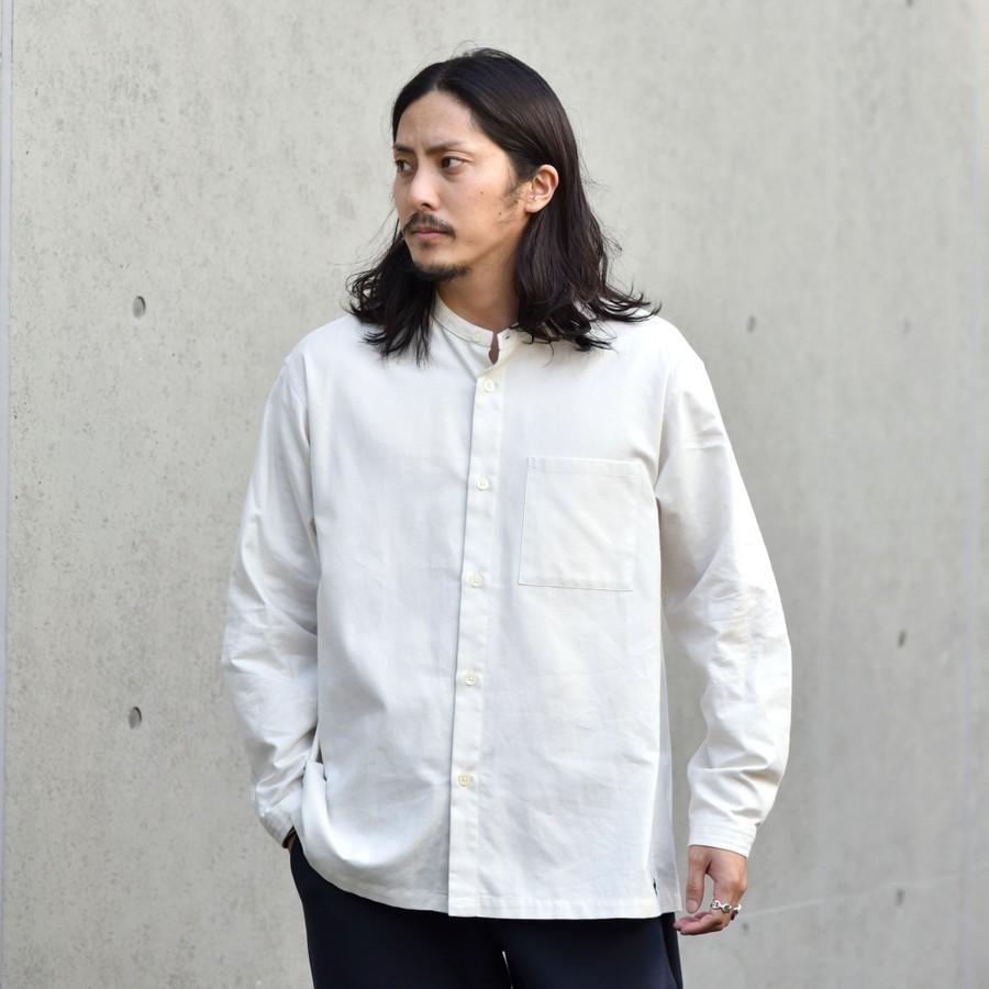 SHIPS: japan quality リラックスフィット バンドカラー ネルシャツ