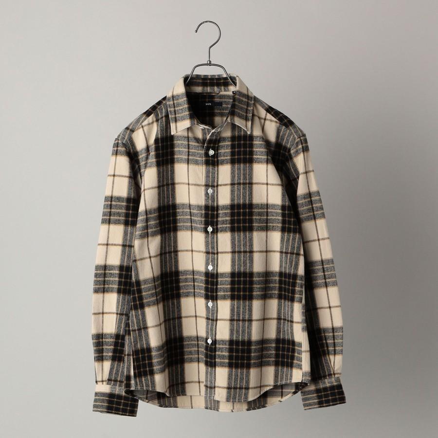 SHIPS: japan quality フェザー チェック レギュラーカラー ネルシャツ