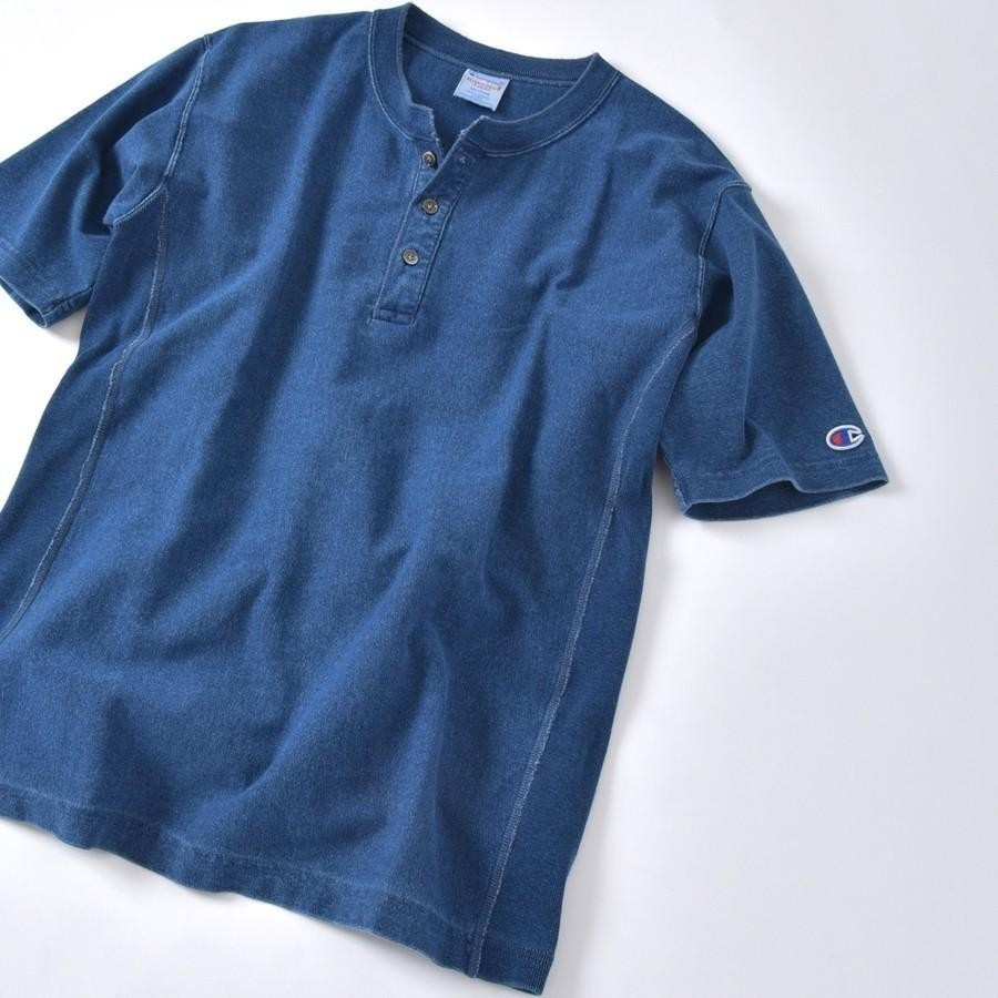 Champion×SHIPS: 別注 リバースウィーブ(R) インディゴ ジャージー ヘンリーネック Tシャツ