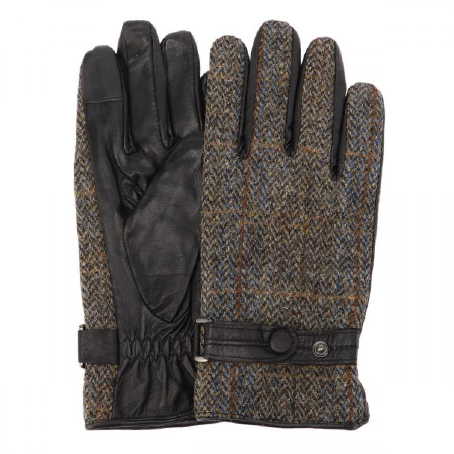 EIGHT BEES エイトビーズ レザー × ハリスツイード 革包み 手袋 グローブ BLC MSGL-088