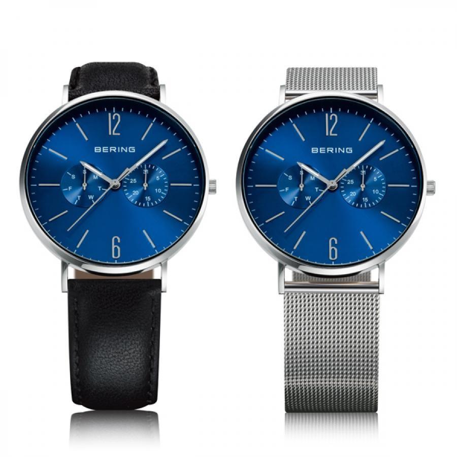 BERING ベーリング Changes Leather & Mesh  TiCTAC別注モデル 替えベルト付き メンズ 腕時計 14240-407