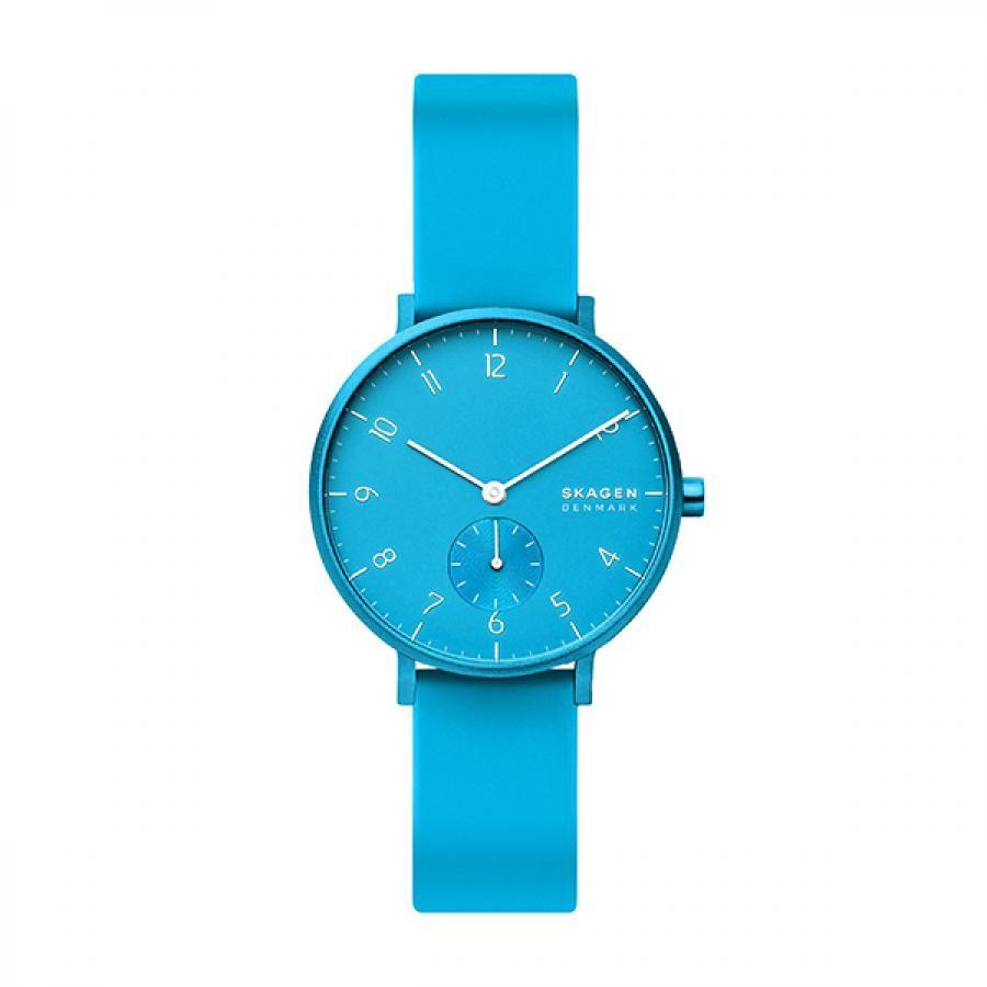 SKAGEN スカーゲン  腕時計 Aaren Kulor アーレン36mm ネオンブルー シリコンウォッチ SKW2818