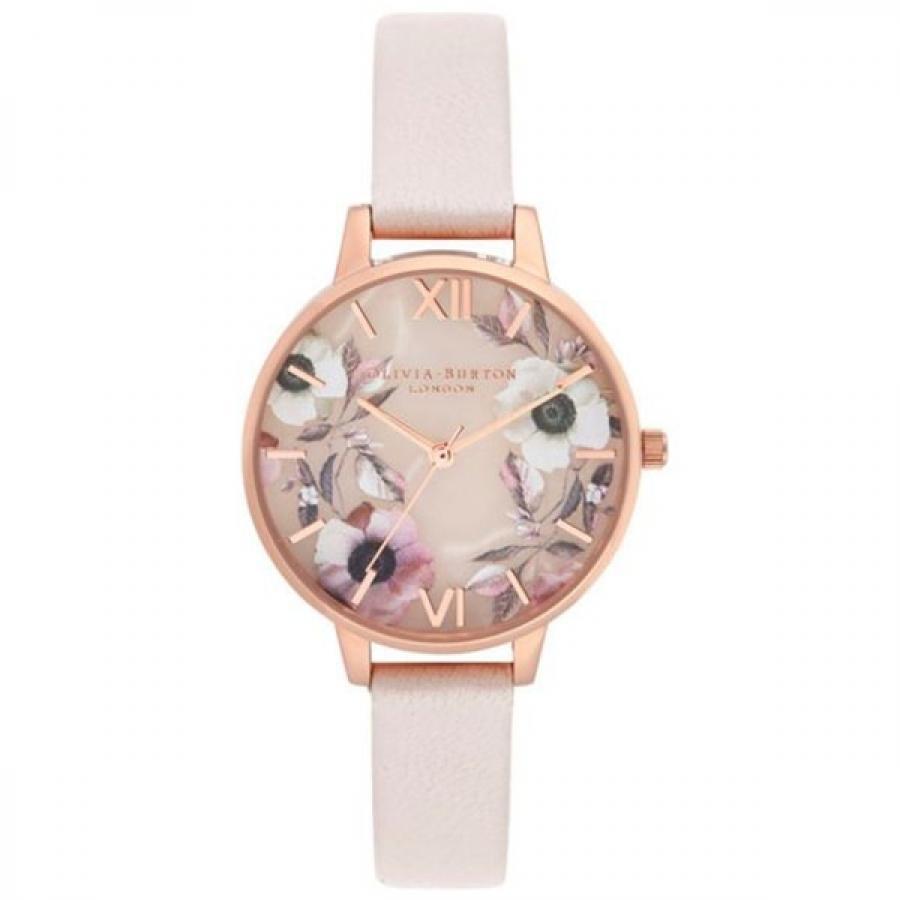 【SALE!!】OLIVIA BURTON オリビアバートン セミプレシャス ローズクォーツ パールピンク & ローズゴールド 腕時計 レディース OB16SP14