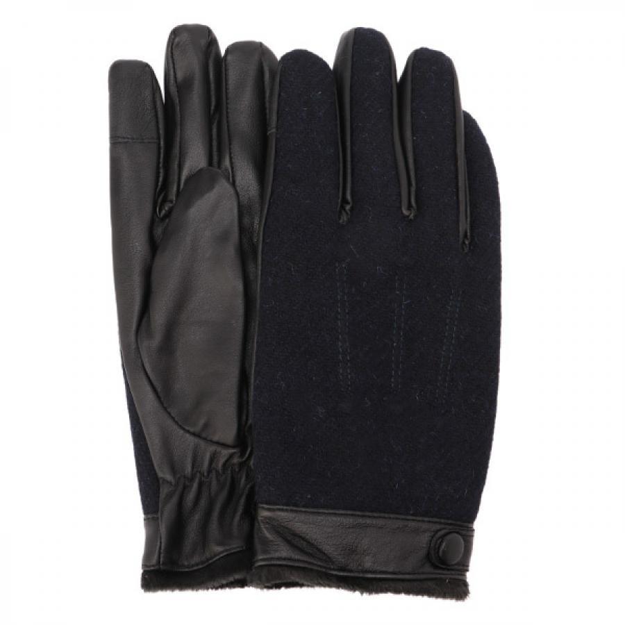 EIGHT BEES エイトビーズ レザー × ハリスツイード 裾ボア 手袋 グローブ ダークネイビー MSGL-087
