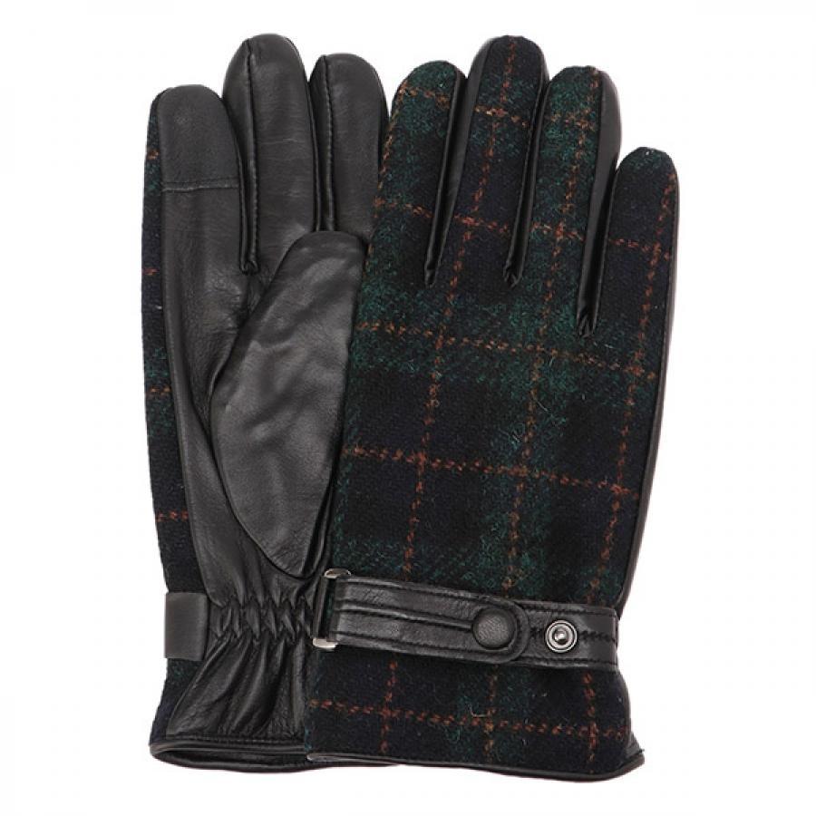 EIGHT BEES エイトビーズ レザー × ハリスツイード 革包み 手袋 グローブ ダークグリーン MSGL-088