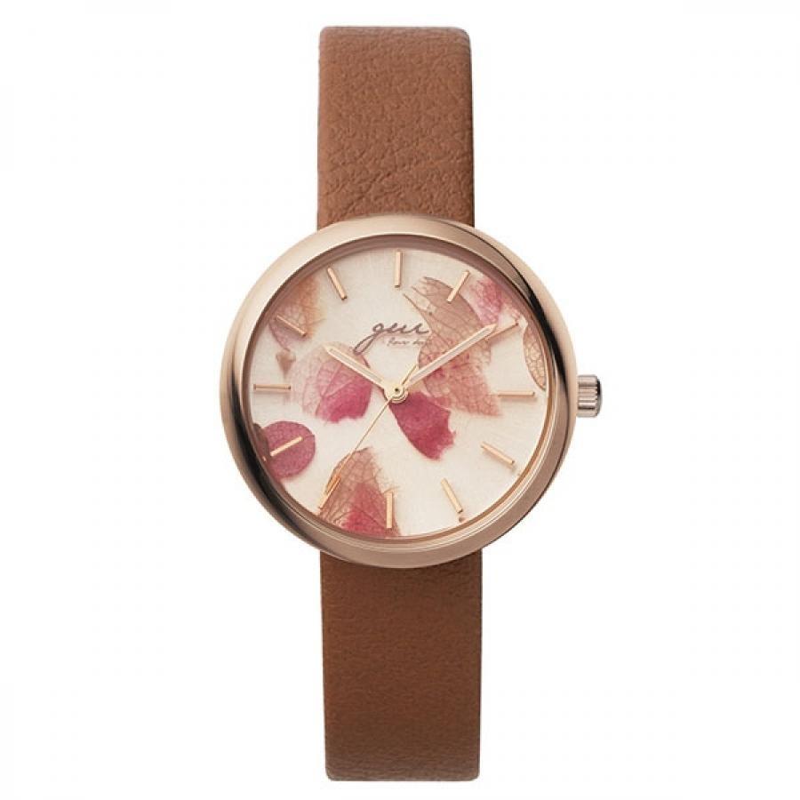 SPICA×gui flower design スピカ×グイ フラワー デザイン フラワーアーティスト 前田有紀 TiCTACオリジナル SPI64-PG/LBR ライトブラウン×ピンク 腕時計 レディース