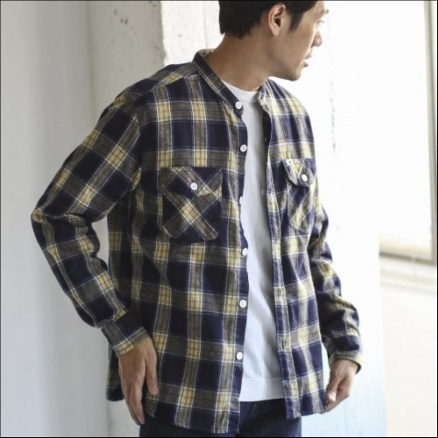 Lee×DOORS-natural- ノーカラーワークシャツ