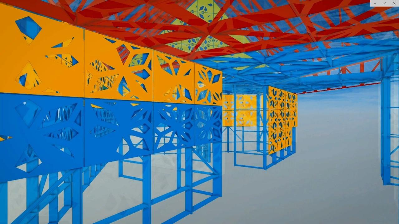 建物のBIMモデル。各パネルの取り付け位置が計画されている