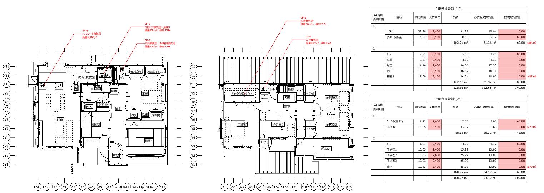 部屋の面積や採光・換気・排煙の有効面積を検討するALVS検討図