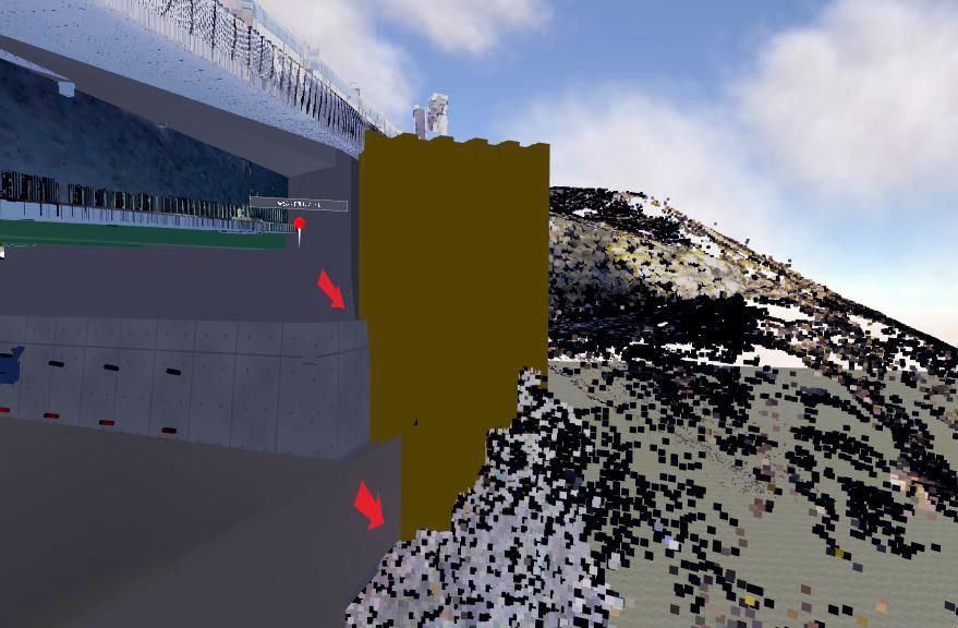 橋台わきに打設する予定の矢板が、橋台と干渉することを未然に発見
