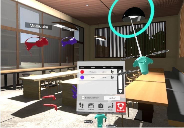 複数人がVR空間に集まり、デザイン検討などを行う機能が充実した「SYMMETRY製品版バージョン1.2」の画面イメージ(以下の資料:特記以外はSYMMETRY Dimensions)