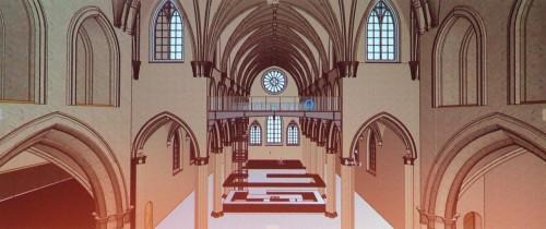 教会内部の梁や柱をARCHICADだけでモデリングした例