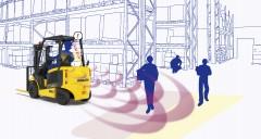 オペレーターの後方安全確認を光と音でサポートする 「衝突検知警報システム」を電動式フォークリフトへ搭載開始