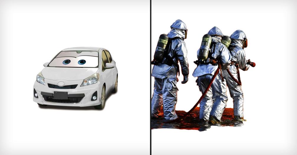 サンシェードと消防士