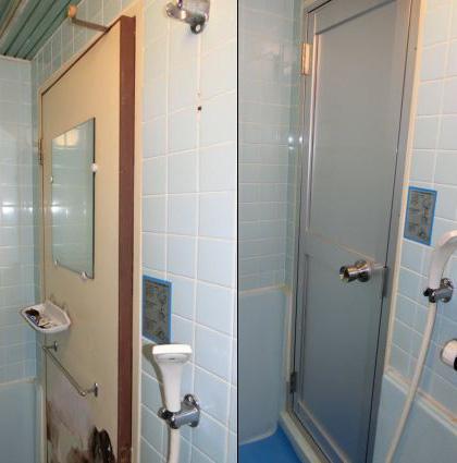 浴室ドアの交換、サッシ
