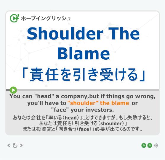 「責任を引き受ける」- shoulder the blame