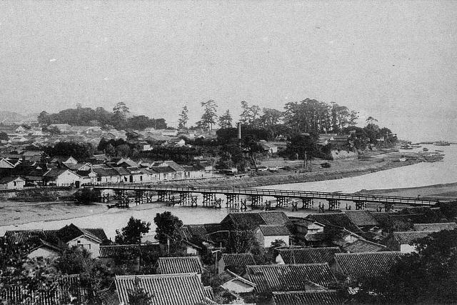 大正5年(1916年) 上ノ山から会津橋を望む