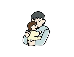 赤ちゃんを抱っこしているまねをする