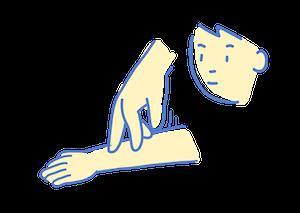 指2本を子どもの腕の下から上へはわせる