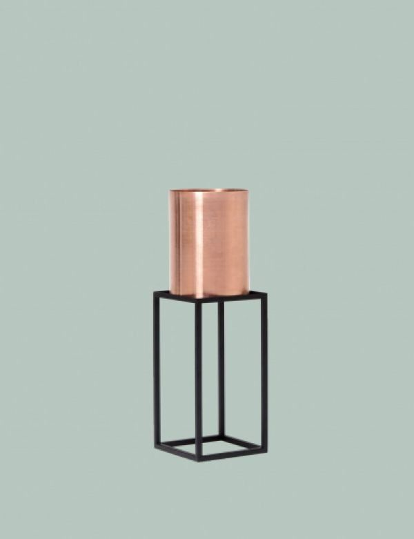 [ete studios] CP02 - Cylinder copper pot with steel stand