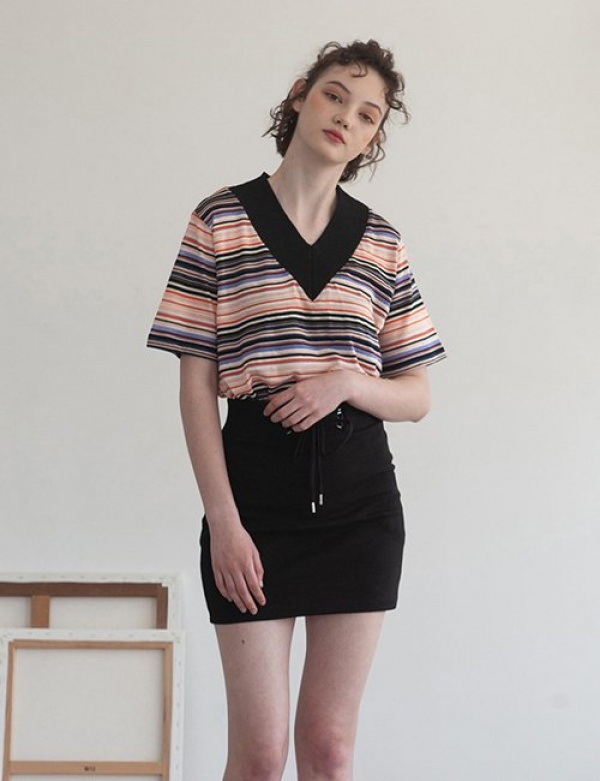 [TARGETTO] V-NECK KNIT MULTI STRIPE