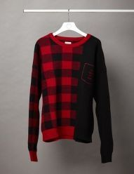 [D-ANTIDOTE] CHECK PATTERN COLOUR BLOCKING SWEATER 01