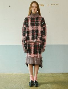 [EYEYE] CHECK RIBBON KNIT SKIRT