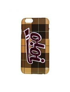 [5252] PATCH LOGO PHONE CASE [beige check]