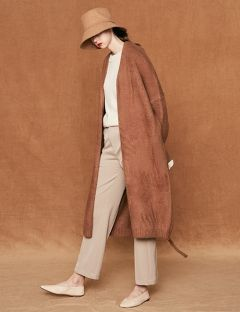 [VOIEBIT] OVERSIZE ROBE LONG CARDIGAN BROWN