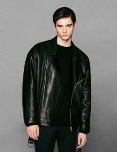 [VOIEBIT] OVERSIZE ZIPPER LEATHER JACKET BLACK