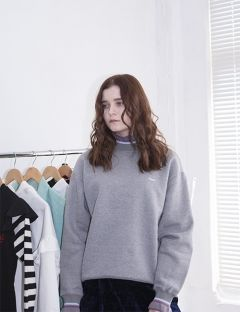 [HOMMMIE] Basic logo sweat shirts [gray]
