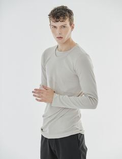 [GOER] GRAY-BEIGE LONG SLEEVE T-SHIRTS