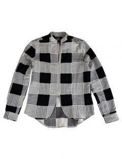 [GOER] BLACK ZIP-UP CHECK SHIRTS