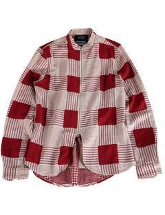 [GOER] RED ZIP-UP CHECK SHIRTS