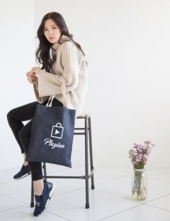 [PLAYIAN] SIMPLE DENIM ECO BAG [EE03UBLU]