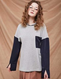 [A BY A] Stripe Sleeve Hoodie [Gray]