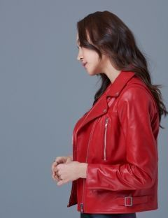 [SPERONE] Woman's Basic Rider Jacket [Red]