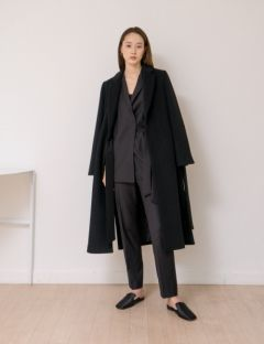 [NOTA] WARM BELTED LONG COAT [BLACK]