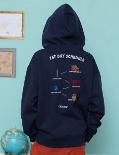 [CANLEAP] CANLEAP 1ST SCHEDULE OVER FIT HOODIE [NAVY]