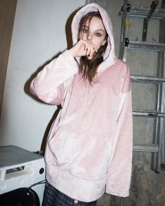 [B ABLE TWO] Embossed Fur Hoodie [PINK]
