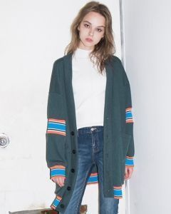 [B ABLE TWO] Oversized Coloration Cardigan [GREEN]