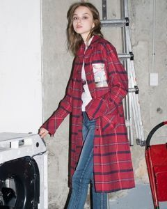 [B ABLE TWO] Signature Graphic Check Long Shirts [RED]