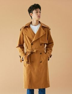 [BONNIE&BLANCHE] UNISEX WINDY TRENCH COAT [BROWN]