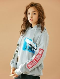 [BONNIE&BLANCHE] COLLAGE HOODED SWEATSHIRT [GREY]