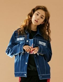 [BONNIE&BLANCHE] DO NOT ENTER DENIM JACKET [NAVY]