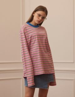 [TARGETTO] STRIPE T SHIRTS PINK