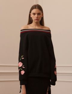 [TARGETTO] ROSES OFF SHOULDER SWEAT SHIRTS BLACK/PINK