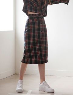 [TARGETTO] FRILL CHECK SKIRT BLACK CHECK