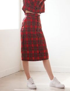 [TARGETTO] FRILL CHECK SKIRT RED CHECK