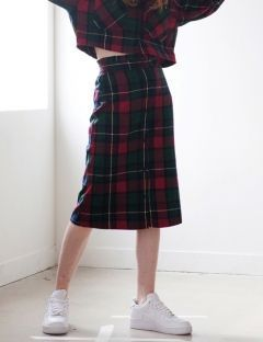 [TARGETTO] FRILL CHECK SKIRT GREEN CHECK